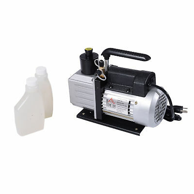 Homcom Dual Stage Vacuum Pump 5cfm 12hp Rotary Vane Deep Hvac Ac Air Tool Black