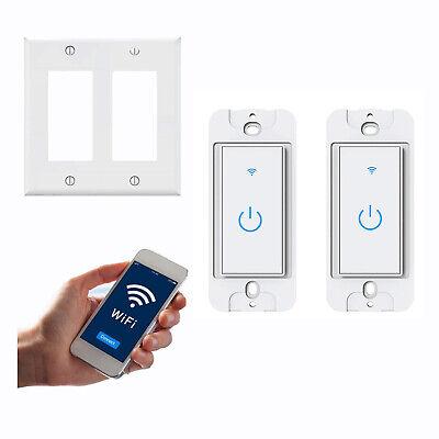 WiFi Smart Light Switch 2-Gang Light Switch Remote for Alexa & Google IFTTT US