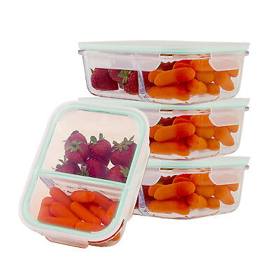 Leak Proof Containers - Glass Food Containers 2 Compartment Divider Meal Prep Storage Leak Proof Lid