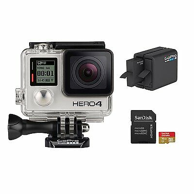 New GoPro Hero4 Bundle HD Video Camera 1080p Wifi Waterproof Silver