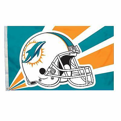 Miami Dolphins NFL Flag 3x5 Helmet Design Indoor Outdoor Deluxe Banner Flag - Miami Dolphins Deluxe Helmet