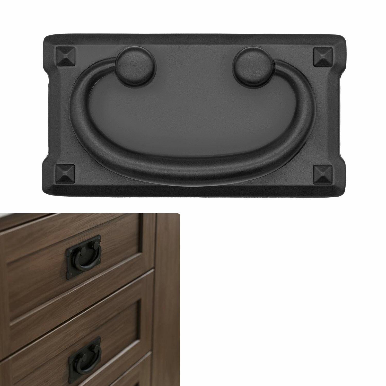 Matte†Flat Black Cabinet Hardware Mission Square Drawer Pull, 3″ Hole Center Building & Hardware