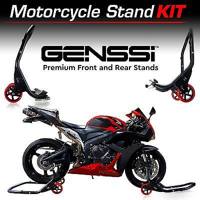 Universal Motorcycle Stand Set Swingarm Paddle Spool Fork Front Rear Wheel Lift