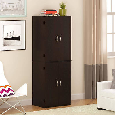 -  Storage Cabinet, Multiple Finishes Furniture 4 Door Decorative,Handles Wood