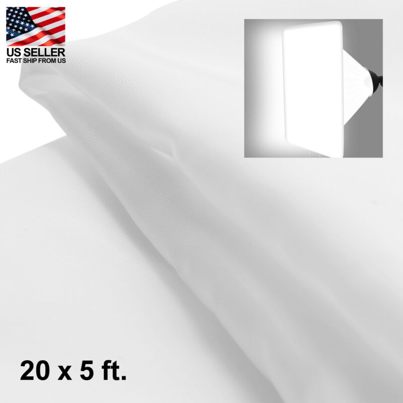 20 x 5 ft / 6 x 1.5 Meters White Diffusion Fabric for Photography Light Diffuser
