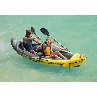 Fishing Kayak 2 Person Inflatable Boat with Aluminum Oars and Hand Air Pump 2 Person Aluminum Kayak
