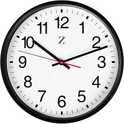 Large Wall Clock Round Non-Tick Silent  (Black, 10 Inch) - NEW