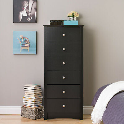Black Tall Chest 6-Drawer Dresser Set Home Bedroom Wooden Space-Saving Furniture Home 6 Drawer Chest