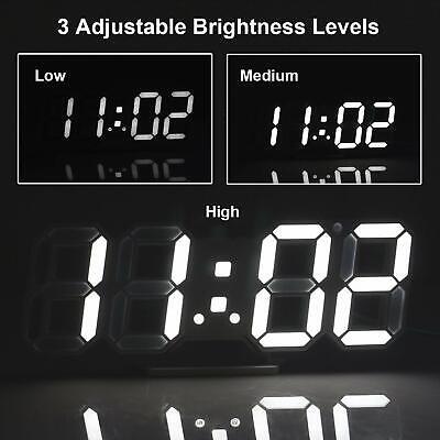 Digital 3D LED Wall Clock Alarm Snooze Watch 12/24 Hour Display USB Modern USA