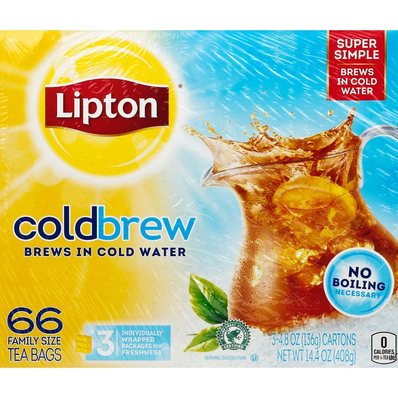 Lipton, Black Tea, Cold Brew, Family Size Tea Bags, 22-Count