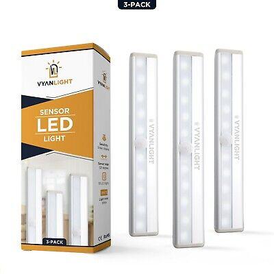 3 Pack 10 LED Motion Sensor Closet Lights Cordless Under Cabinet Lightening