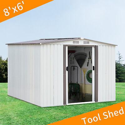 8'x6'White Outdoor Garden Storage Shed Tool House Sliding Door Steel