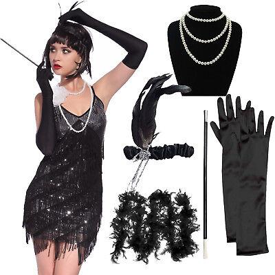 5Pcs Set Flapper Fancy 20s Dress Accessories Charleston Gangster Gatsby Costume - Flapper Dress Accessories