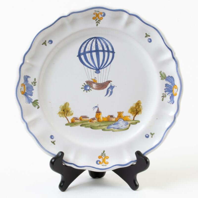 Atelier de Segries Moustiers France Hot Air Balloon & Castle Lunch Plate 9.5""