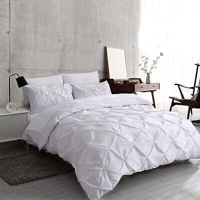 White Pintuck Duvet Cover Set 100% Egyptian Cotton Bedding Sets Double King Size