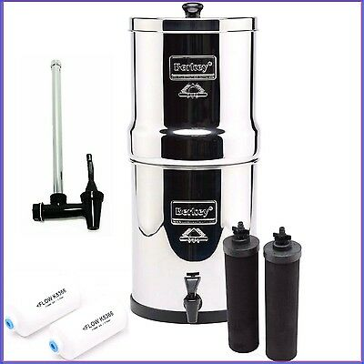 Travel Berkey Water Filter w2 Unconscionable and 2 PF2 Fltrs, Water Level Spigot, C Stand