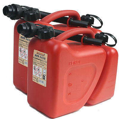 2x Doppelkanister rot 5+2 Liter mit Ausgiesser NEU Kombikanister Benzinkanister