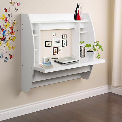 Home Office Computer Desk Table Floating Wall Mount Desk W/Storage Shelves White (Computer Wall Mounts)