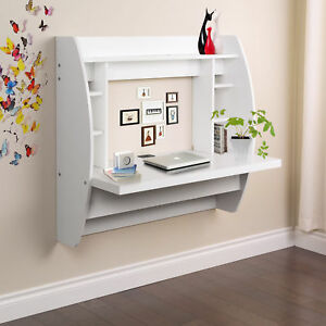 office wall desk. Home Office Computer Desk Table Floating Wall Mount W/Storage Shelves White 0