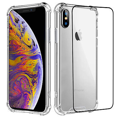For iPhone XR / XS Max Shockproof Crystal Clear Case Cover with Screen Protector Clear Crystal Case Protector Cover