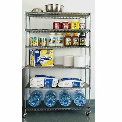 """Commercial Steel Rolling Storage Shelving Rack Metal Wire Shelf 3"""" Caster Chrome"""