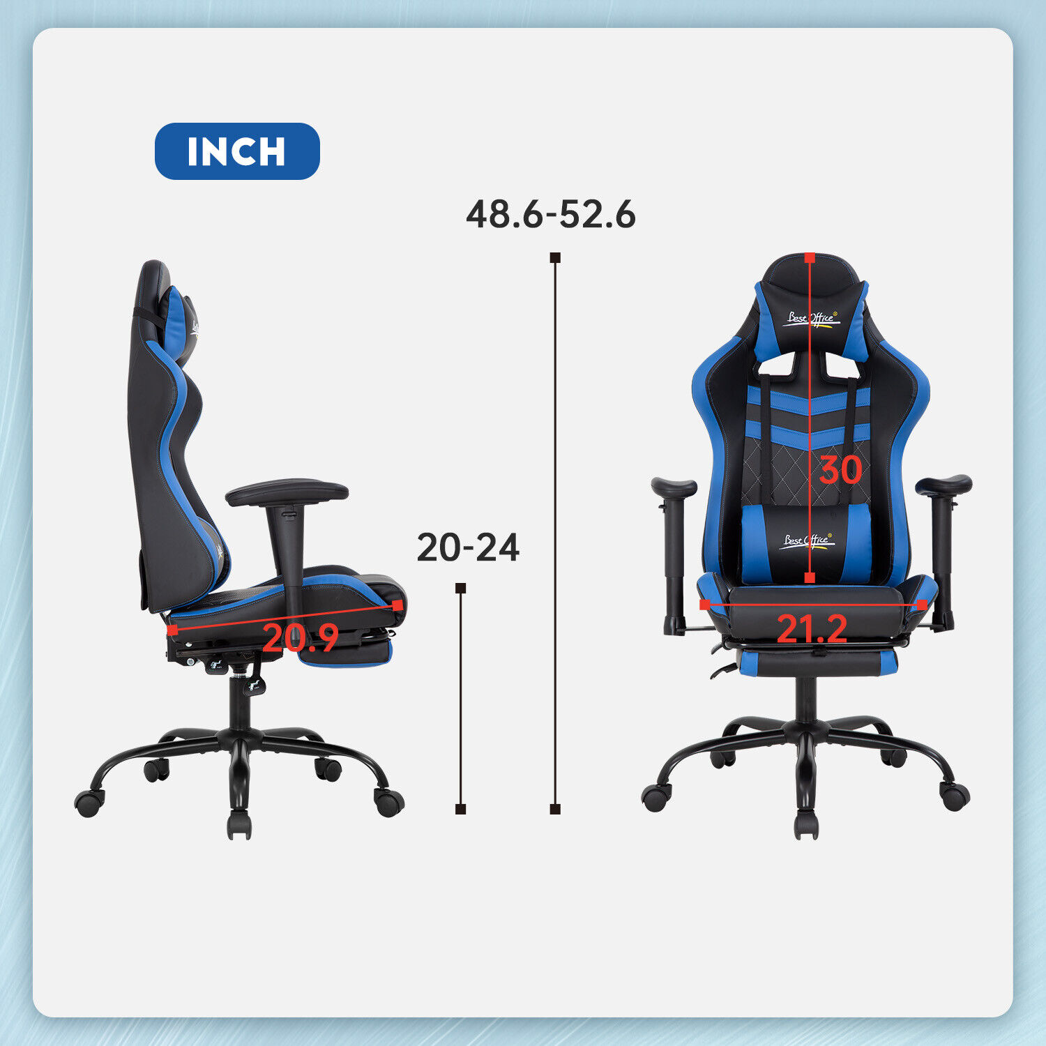 Gaming Chair Office Chair Computer Chair with Lumbar Support Headrest Footrest Business & Industrial