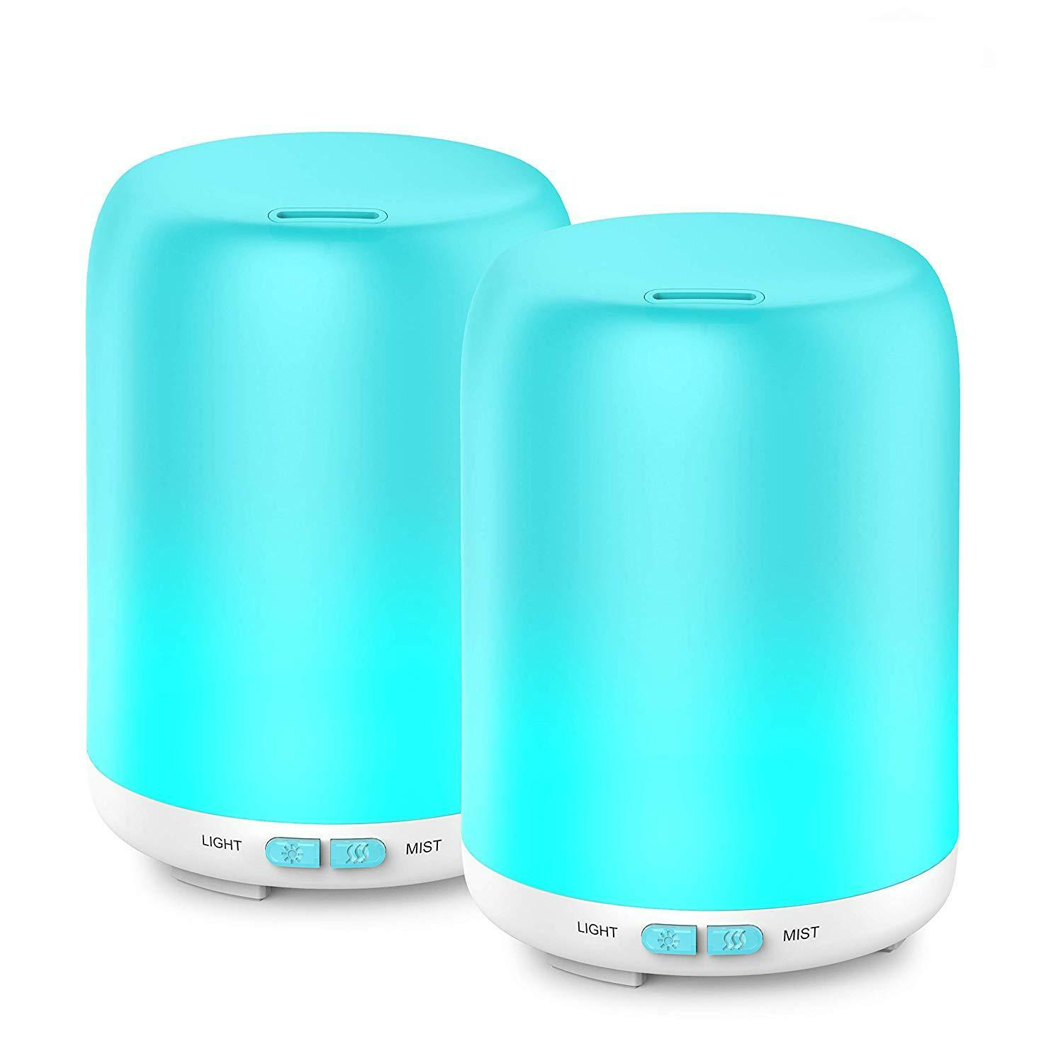 2 Pack Oil Diffuser Ultrasonic Cool Mist Aromatherapy with 7