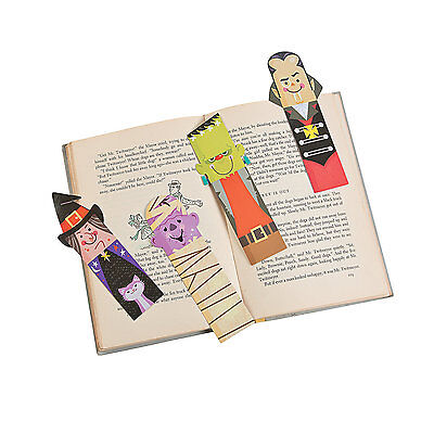 48 HALLOWEEN Party Favor School Treasure Box Character Faces BOOKMARKS - Halloween Favor Boxes