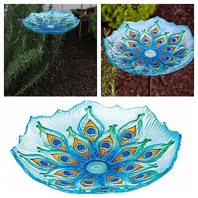 Garden Glass Birdbath Yard Water Bowl Peacock Colors Style With Metal Stake