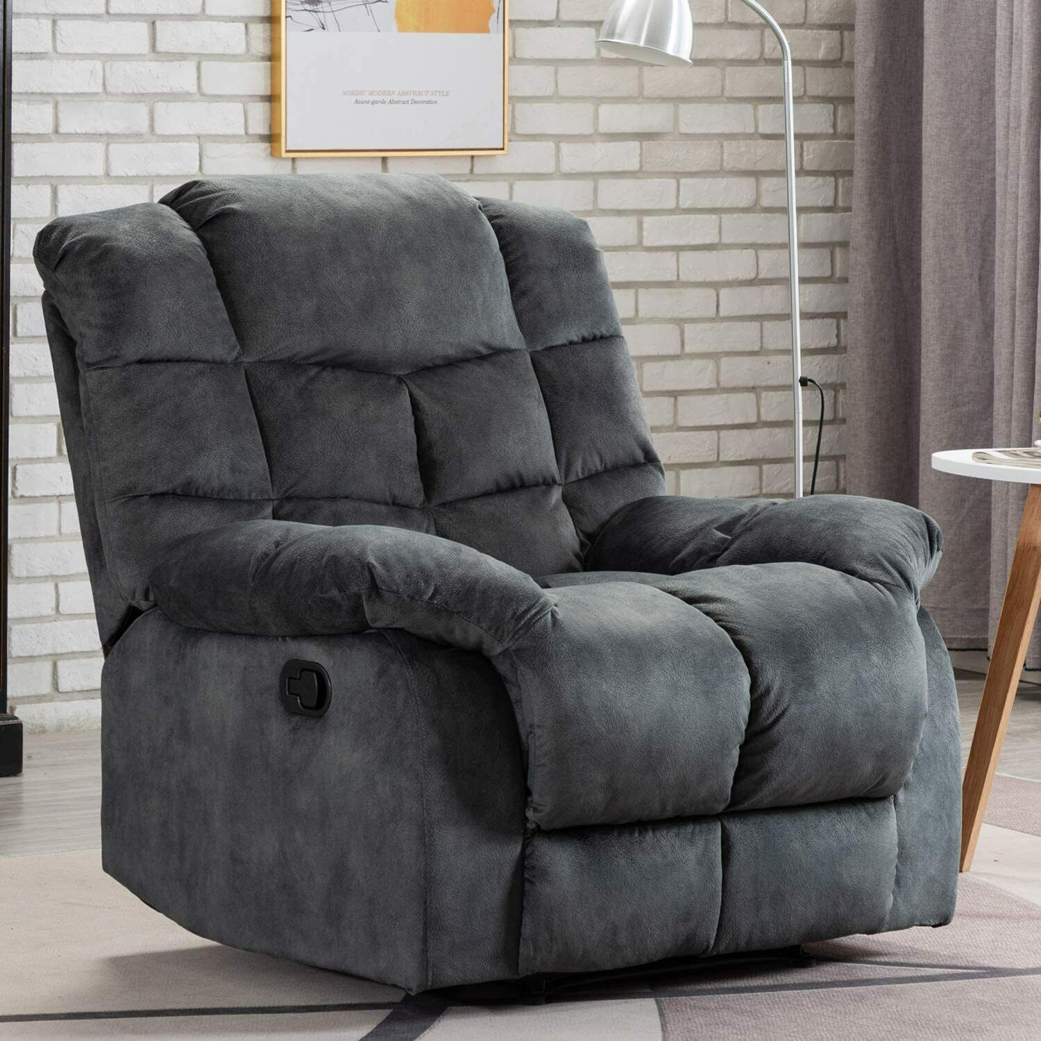 overstuffed manual recliner chair single couch sofa