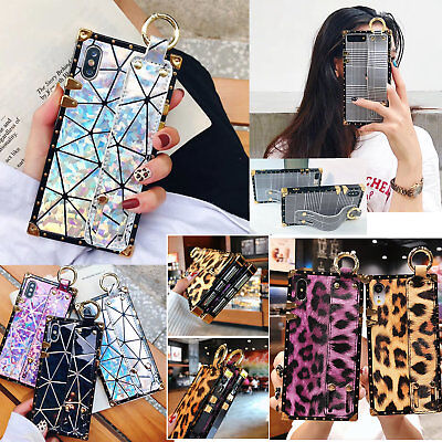 Glitter Leopard - For iPhone XS Max XR Square Leather Grid Glitter Leopard Wristband Bracket Case