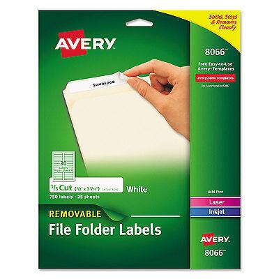 Cut File Folder Labels - Avery Removable 1/3-Cut File Folder Labels Inkjet/Laser .66 x 3.44 White 750/PK