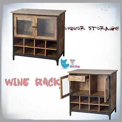 Wine Cabinet Bottle Rack Storage Rustic Wood & Glass Home Liquor Furniture Shelf