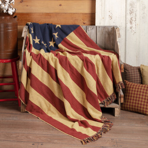 New Primitive Betsy Ross Americana AMERICAN FLAG THROW Blanket Table Cloth