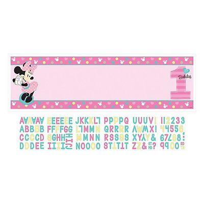 1st Birthday Minnie Mouse Personalized Banner Kit Party Supplies Minnie](Minnie Mouse 1st Birthday Decorations)