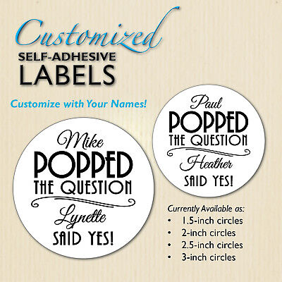 POPPED the Question Popcorn Favor Labels, Wedding Stickers Engagement YOUR NAMES](Popcorn Wedding Favors)
