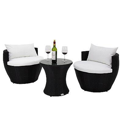 3PC Patio Rattan Sofa Furniture Set Vase Design Balcony Garden Deck All-Weather