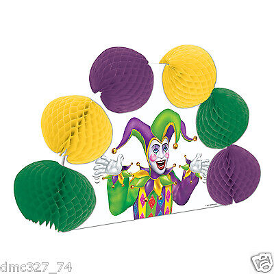 MARDI GRAS Fat Tuesday Party Table Decoration POP OVER JESTER Tissue CENTERPIECE - Mardi Gras Table Decor