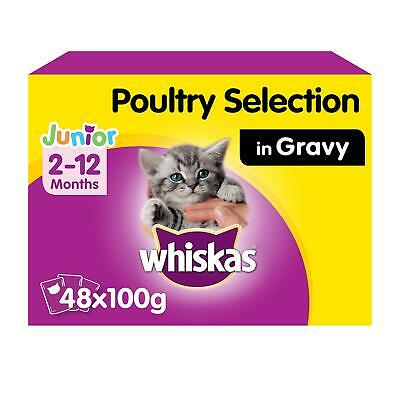 48 x 100g Whiskas 2-12 Months Kitten Wet Cat Food Pouches Mixed Poultry in Gravy
