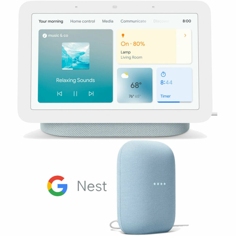 Google Nest Hub Smart Display, Mist (2nd Gen) with Nest Speaker Bundle