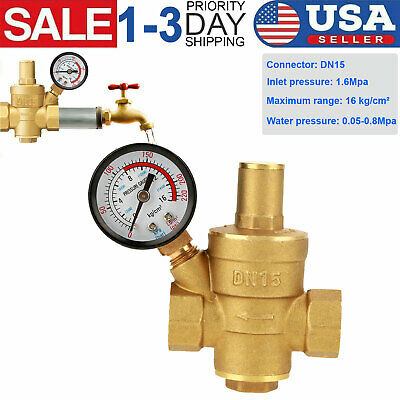 Dn15 Brass Npt 12 Adjustable Water Pressure Regulator Reducer W Gauge Meter