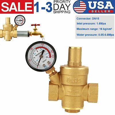 Dn15 Brass Npt 12 Adjustable Water Pressure Regulator Reducer W Gauge Meter
