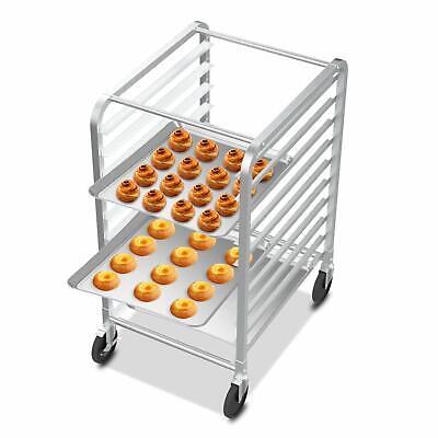 10 Tier Kitchen Aluminum Bakery Rack Bun Pan Sheet Racking Rolling Trolley New