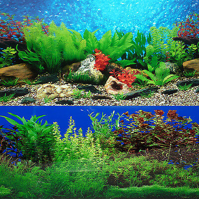 "9085 12"" x 48"" Fish Tank Background 2 Sided River Bed & Lake Background Aquarium"