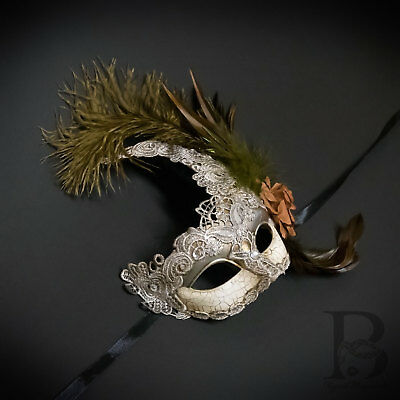 Venetian Goddess Brocade Lace Masquerade Ball Mask with Feathers - Masquerade Mask With Feathers