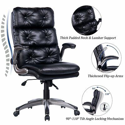 Vanbow High Back Office Chair - Ergonomic Tufted Bonded Leather Executive Chair