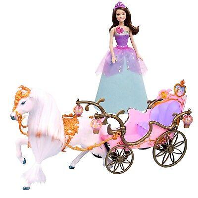 Prinzessinnen Kutsche mit Pferd und Barbie Disney Super-Prinzessin CORINNE