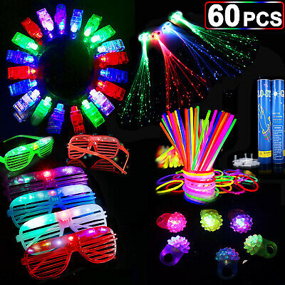 Light Up Rave Toys (60PCS LED Party Favors Light Up Glow Toys Gift  Ring Rave Glasses School)