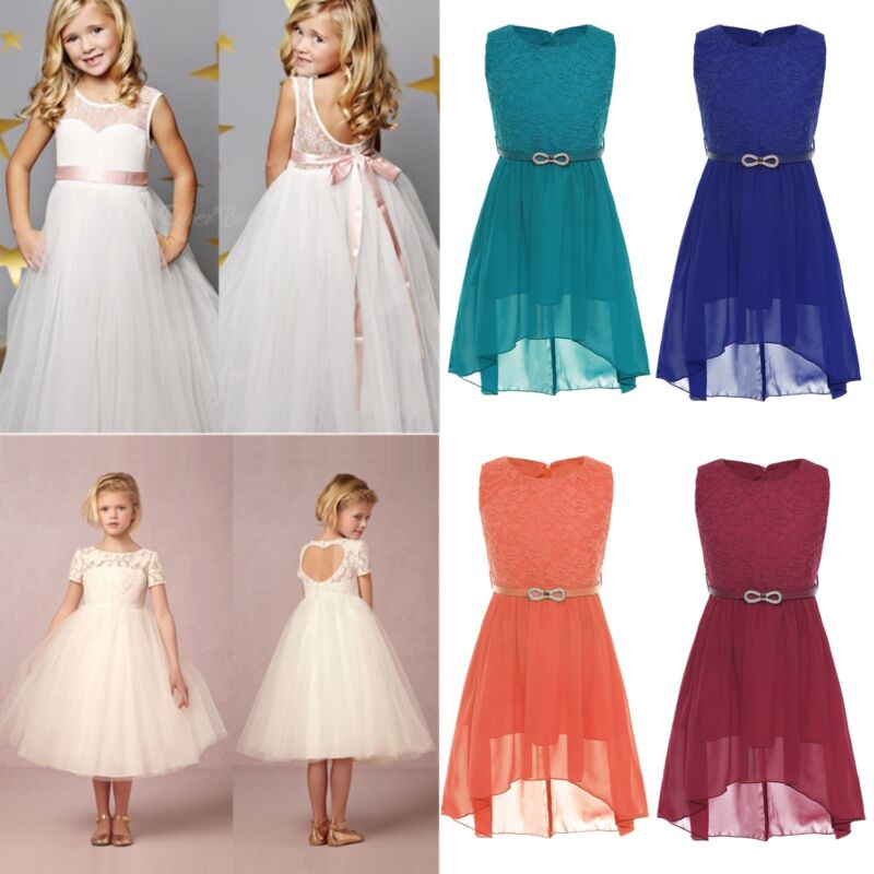 bbf96155708 Flower Girl Dress Party Wedding Bridesmaid Pageant Formal Lace Princess  DressesUSD 11.99