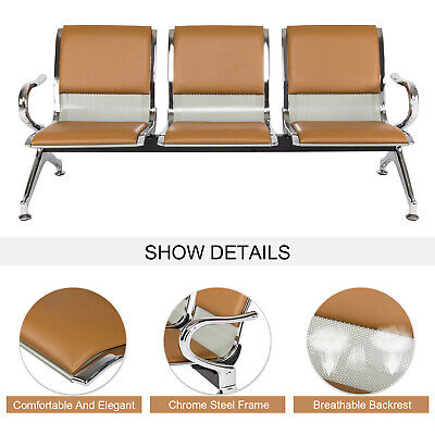 3-seat Office Reception Chair Waiting Room Bench Visitor Guest Airport Khaki